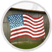 Flag And Barn - Painting Round Beach Towel