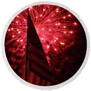 Flag And Fireworks Round Beach Towel