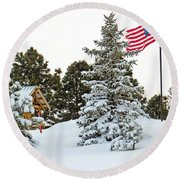 Flag And Snowy Pines Round Beach Towel