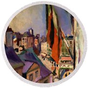 Flag Decorated Street 1906 Round Beach Towel
