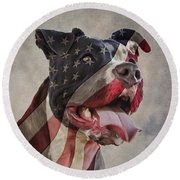 Flag Dog Round Beach Towel