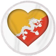Flag Of Bhutan Heart Round Beach Towel