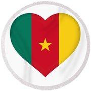 Flag Of Cameroon Heart Round Beach Towel