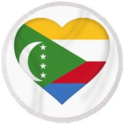 Flag Of  Comoros Heart Round Beach Towel