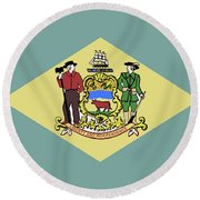Flag Of Delaware Round Beach Towel