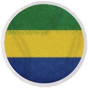 Flag Of Gabon Grunge. Round Beach Towel