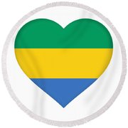 Flag Of Gabon Heart  Round Beach Towel