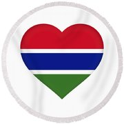 Flag Of Gambia Heart Round Beach Towel