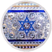 Flag Of Israel. Bead Embroidery With Crystals Round Beach Towel