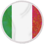 Flag Of Italy Colorful Round Beach Towel