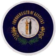Flag Of Kentucky Grunge Round Beach Towel