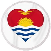 Flag Of Kiribati Heart Round Beach Towel