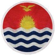 Flag Of Kiribati Texture Round Beach Towel