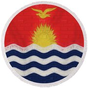 Flag Of Kiribati Wall Round Beach Towel