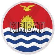 Flag Of Kiribati Word Round Beach Towel