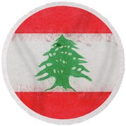 Flag Of Lebanon Grunge Round Beach Towel