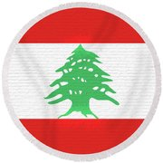 Flag Of Lebanon Wall Round Beach Towel