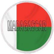 Flag Of Madagascar Word Round Beach Towel