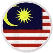 Flag Of Malaysia Wall. Round Beach Towel