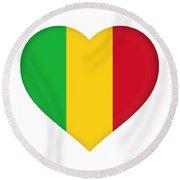 Flag Of  Mali Heart  Round Beach Towel