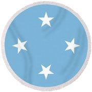 Flag Of Micronesia Round Beach Towel