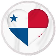 Flag Of Panama Heart  Round Beach Towel