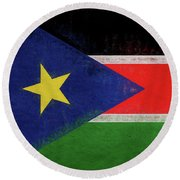 Flag Of  South Sudan Grunge Round Beach Towel