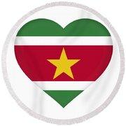 Flag Of Suriname Heart  Round Beach Towel
