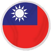 Flag Of Taiwan Round Beach Towel