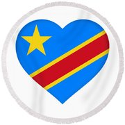 Flag Of The Congo Heart Round Beach Towel