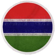 Flag Of The Gambia Grunge. Round Beach Towel