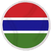 Flag Of The Gambia Round Beach Towel