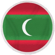 Flag Of The Maldives Wall. Round Beach Towel