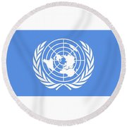 Flag Of The United Nations Round Beach Towel