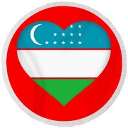 Flag Of Uzbekistan Heart Round Beach Towel