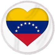 Flag Of Venezuela Heart  Round Beach Towel