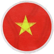 Flag Of Vietnam Grunge Round Beach Towel