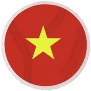Flag Of Vietnam Wall Round Beach Towel