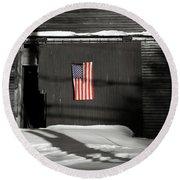 Flag On A Wentworth Barn  Round Beach Towel