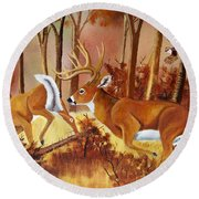 Flagging Deer Round Beach Towel