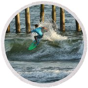 Flagler Beach Surf Day Round Beach Towel