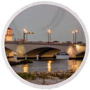Flagler Bridge In Lights Iv Round Beach Towel