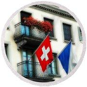 Flags Of Switzerland And Zurich Round Beach Towel