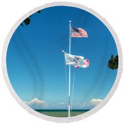 Flags On The Shoreline Round Beach Towel