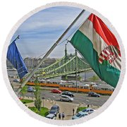 Flags Over Budapest Round Beach Towel