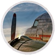Flagship Detroit At Sunrise - 2017 Christopher Buff, Www.aviationbuff.com Round Beach Towel