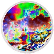 Flamboyant Cloudscape Round Beach Towel
