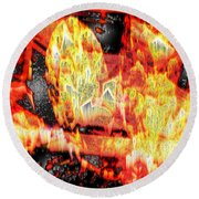 Flame Gems Round Beach Towel