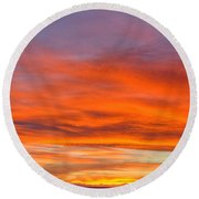 Flame On In Widescape Round Beach Towel