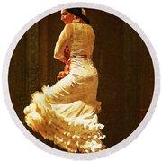 Flamenco Dancer #20 - The White Dress Round Beach Towel